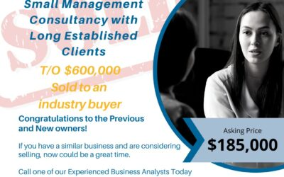 SOLD: the word all very happy Sellers of a Business want to Hear!